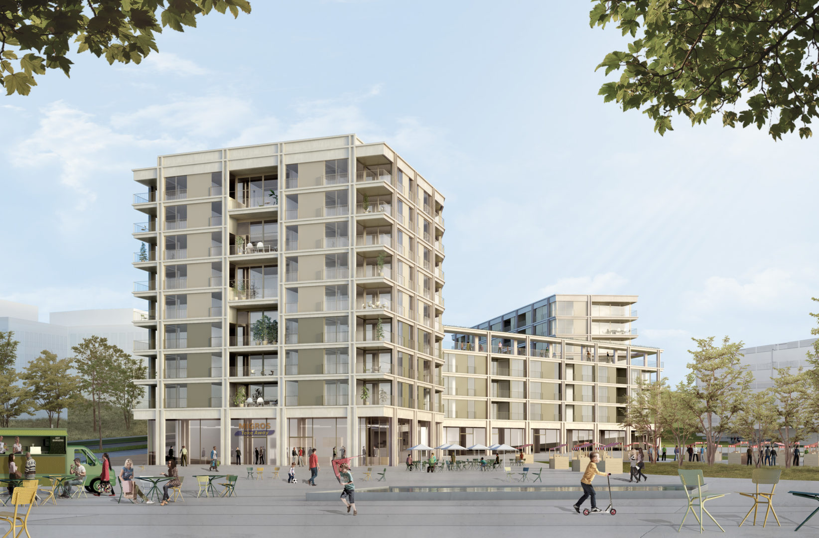 L'immeuble résidentiel et ses activités s'ouvrent sur la place Veillon