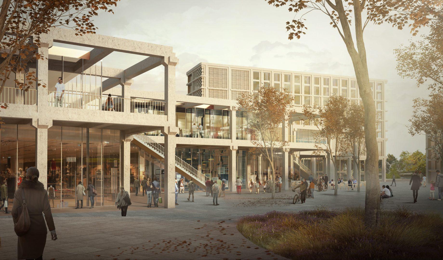 Vue du quartier depuis l'ouest – Le jeu de coursives et d'escaliers rythme l'espace public